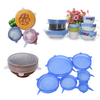 Kitchen Food Grade 6pcs Reusable Silicone Stretch Universal Food of Silicone Pack of 6 Container Silicone Lids