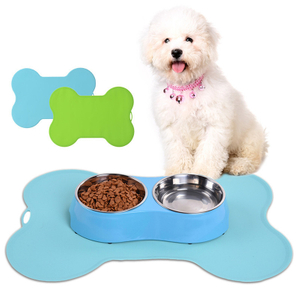 Non-slip Custom Color Silicone Bone-shaped Pet Feeding Mat Pet Dog Food Mat Dog Bowls with Silicone Mat for Pets