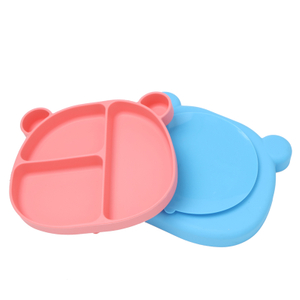 Bear Shaped Dinnerware Silicone Kids Baby Plate Silicone Suction Baby Plates Sets Silicone