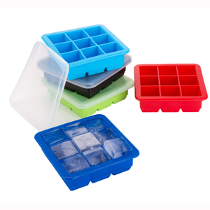 Factory Wholesale Novelty Custom Stackable No-spill Silicone Clear Ice Cube Cream Tray Mold with Lid