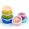 Children's Foldable Silicon Custom Collapsible Folding Silicone Lunch Box Kids Food Bento Lunch Storage Box Set